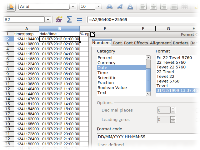 Dates from UNIX timestamps in OpenOffice/LibreOffice | A