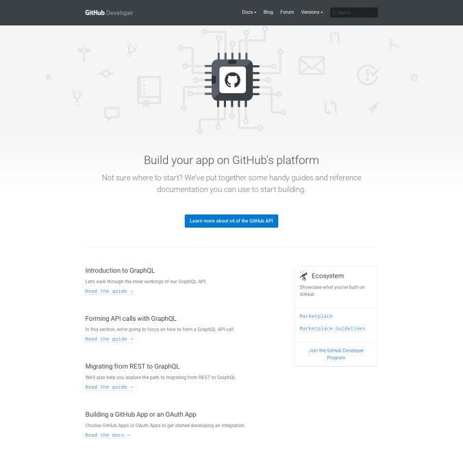developer.github.com home page